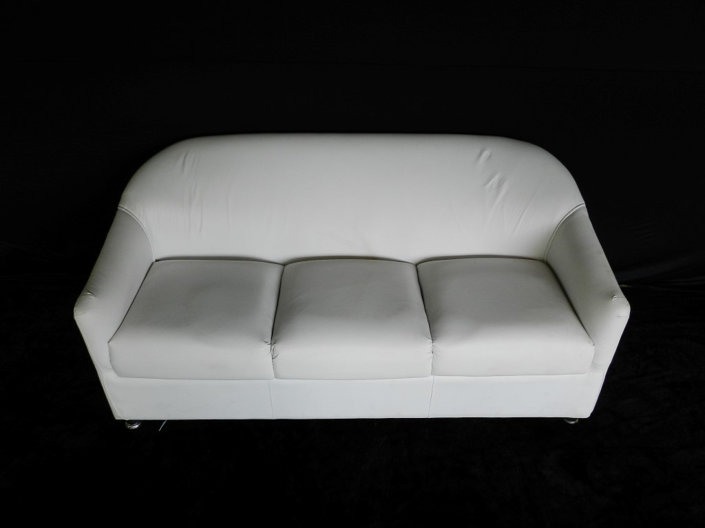 Sofá Branco 3 Lugares - Braço Redondo