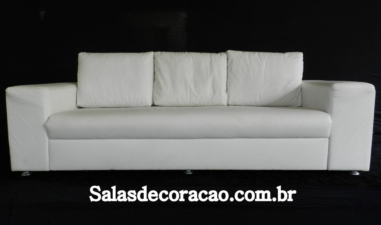 Sofá Branco 3 Lugares - Braço Quadrado